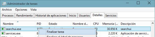 Cómo finalizar los procesos de Cortana
