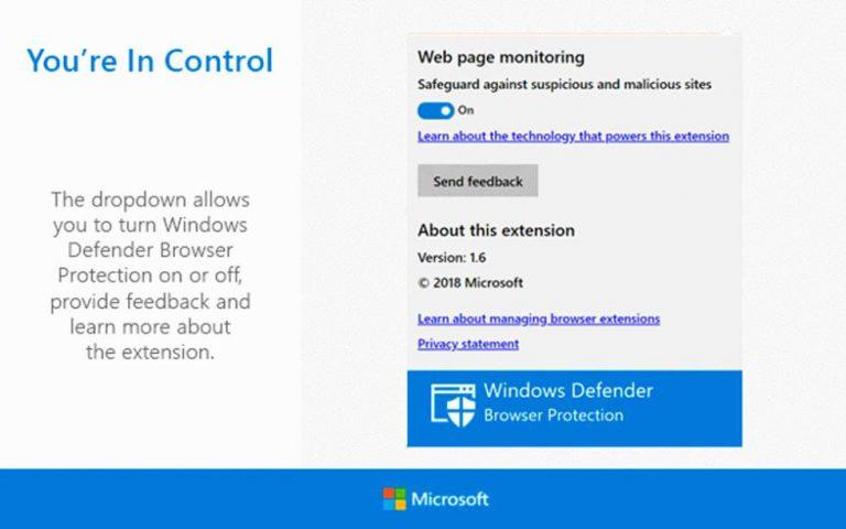La extensión de Windows Defender mejora la seguridad de Chrome