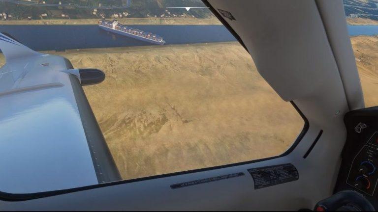 Crisis del Canal de Suez encontrada en Microsoft Flight Simulator!  Obtén una vista de pájaro de un monstruo marino