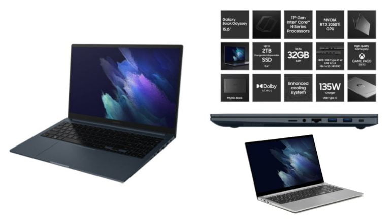 Samsung Galaxy Book Odyssey presentado con CPU de la serie Tiger Lake H y GPU RTX 3050Ti